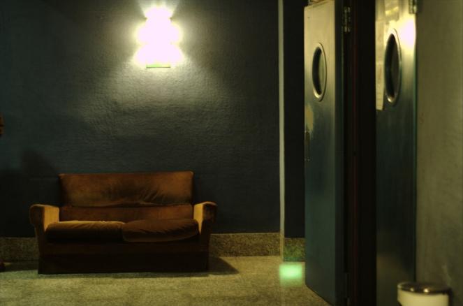 Sofa in green room